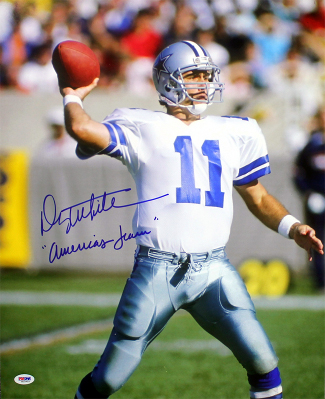 Danny White signed Dallas Cowboys 16X20 Photo America's Team- PSA Hologram