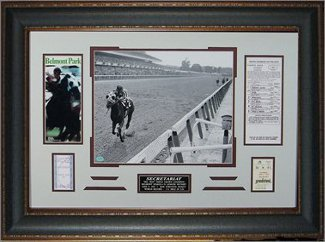 Secretariat 1973 Belmont Stakes Horse Racing unsigned Photo Leather Framed 22x32 w/ Ticket and Race Lineup