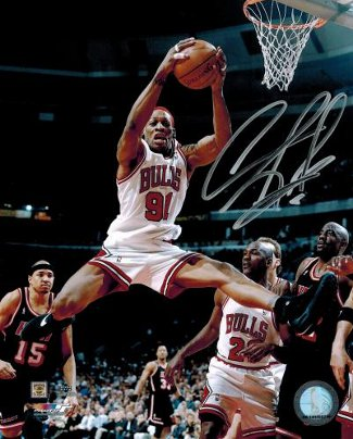 Dennis Rodman signed Chicago Bulls 8X10 Photo Rebounding
