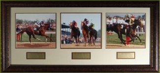 Triple Crown Winners unsigned Horse Racing 3 Photo Leather Framed 36x17