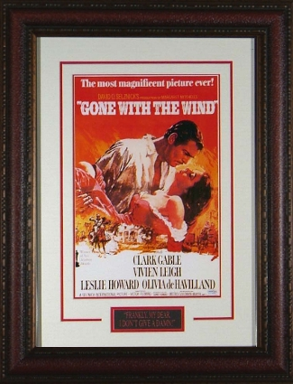 Gone With the Wind unsigned Vintage Movie Poster Premium Leather Framed 20x28