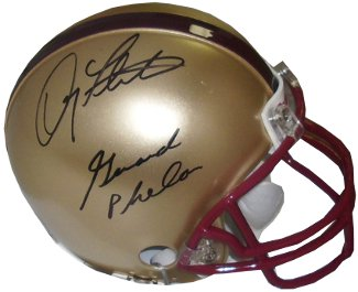 Gerald Phelan signed Boston College Eagles Replica Mini Helmet w/Flutie (Miracle in Miami)