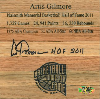 Artis Gilmore signed Hall of Fame Floor Board 6x6 HOF 2011 (Chicago Bulls)