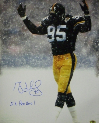 Greg Lloyd signed Pittsburgh Steelers 16X20 in the Snow Photo 5 x Pro Bowl