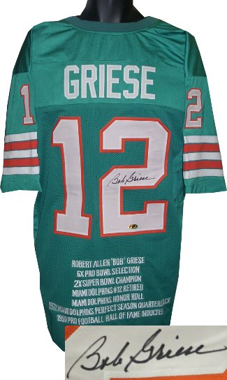 Bob Griese signed Teal TB Custom Stitched Pro Style Football Jersey XL w/ Embroidered Stats- JSA Hologram