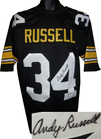 Andy Russell signed Black TB Custom Stitched Pro Style Football Jersey XL- JSA Hologram