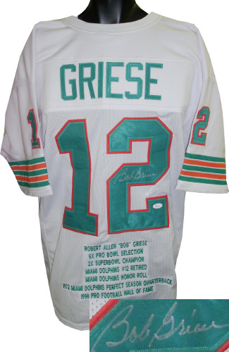 Bob Griese signed White TB Custom Stitched Pro Style Football Jersey XL w/ Embroidered Stats- JSA Hologram