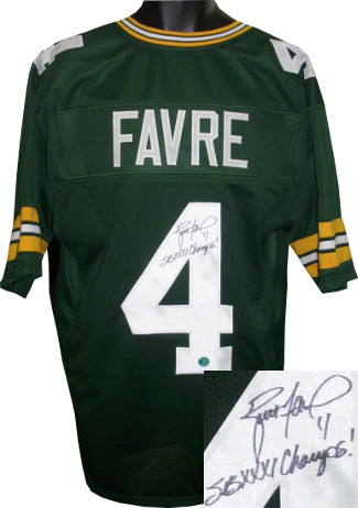 Brett Favre signed Green Custom Stitched Pro Style Football Jersey #4 SB XXXI Champs! XL- Favre Hologram