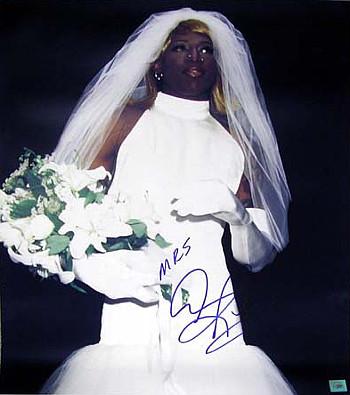 dennis rodman signed wedding dress 16x20 photo with mrs bulls sp
