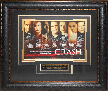 Thandie Newton signed Crash 22X30 Masterprint Poster Leather Framed 7 cast sigs (horizontal-movie/entertainment/photo)