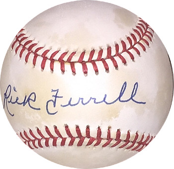 Rick Ferrell signed Official American League Baseball toned (Boston Red Sox)
