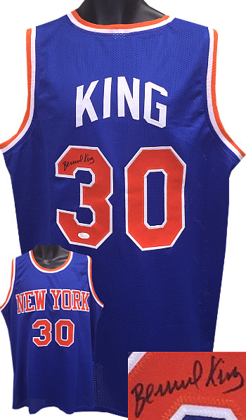 Bernard King New York Knicks signed Blue TB Prostyle Jersey XL- JSA Hologram