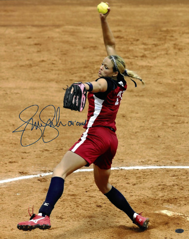 Jennie Finch signed Olympic Team USA 16X20 Photo 04 GOLD (Red Jersey)