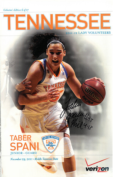 Taber Spani signed 2011-12 Tennessee Lady Vols 11x17 Poster #13 (Women's Basketball)