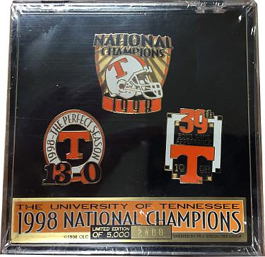 Tennessee Volunteers 1998 National Champs Vintage 3-pin Collectors set - LT ED 2488/5000