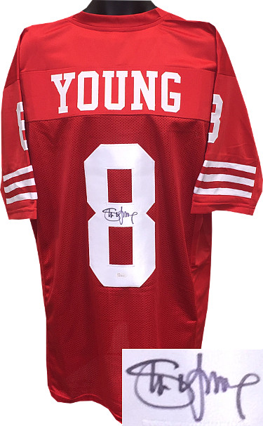 Steve Young signed TB Red Custom Stitched Pro Style Football Jersey- JSA Hologram