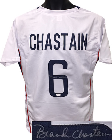 Brandi Chastain signed Team USA White Custom Stitched Soccer Jersey- JSA Hologram