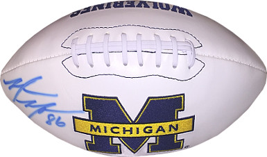 Mario Manningham signed Michigan Wolverines Logo Football #86- sig bleed
