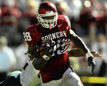Adrian Peterson signed Oklahoma Sooners 8x10 Photo #28 (horizontal)- indentions/scratches