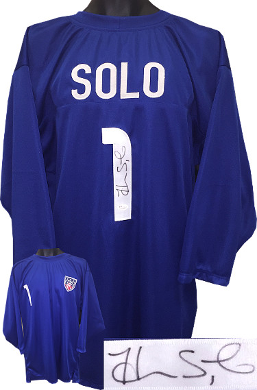Hope Solo signed Soccer Blue Prostyle Jersey 3/4 Sleeves w/ Team USA Patch #1 XL (Olympics Team USA)- JSA Witnessed Hologram