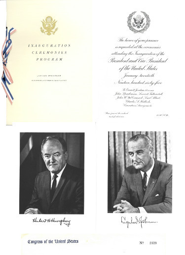 1965 President Lyndon Johnson Inaugural Congressional Invitation Set 1-20-1965 #2129