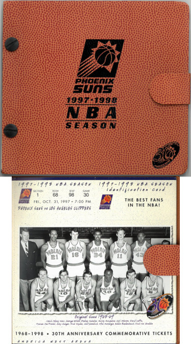 1997/98 Phoenix Suns NBA Basketball 30th Anniversary Season Ticket Album (full set– Unused)