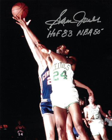Sam Jones signed Boston Celtics Color 8x10 Photo dual HOF 83 & NBA 50