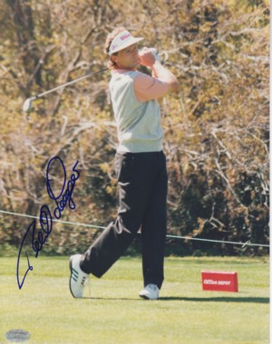Bernard Langer signed 8x10 Photo- Mounted Hologram