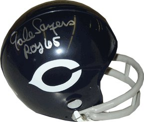 Gale Sayers signed Chicago Bears Throwback 2bar Mini Helmet ROY 65