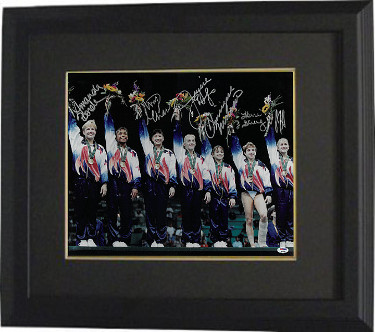 Magnificent Seven signed Team USA 16x20 Photo Custom Framed 6 sig 96 Olympic Gymnasts- PSA- Shannon Miller/Kerri Strug/Amy Chow