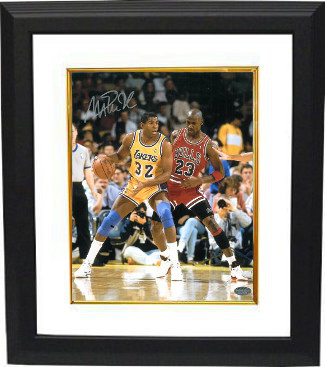 c0354afbd27f Magic Johnson signed Los Angeles Lakers 16x20 Photo vs Michael Jordan  Custom Framed