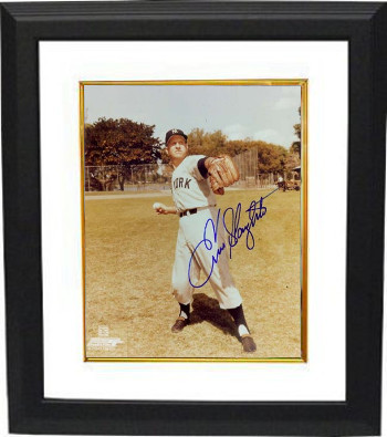 Enos Slaughter signed New York Yankees 8x10 Photo Custom Framed (deceased)
