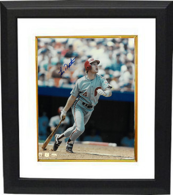 Lenny Dykstra signed Philadelphia Phillies 8X10 Photo Custom Framed (batting)