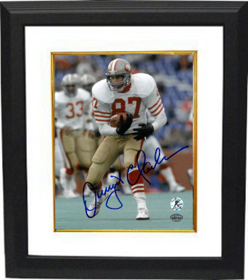 Dwight Clark signed San Francisco 49ers 8X10 Photo Custom Framed (white jersey run)- Clark Hologram
