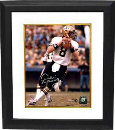 Archie Manning signed New Orleans Saints 8x10 Photo Custom Framed (white jersey passing-vertical-silver sig)- Steiner Hologram