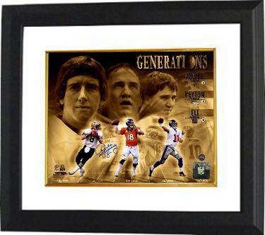 Archie Manning signed Manning Generations 8x10 Photo Custom Framed #8 (New Orleans Saints-horizontal)- Steiner Hologram