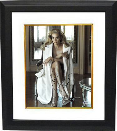 Kate Winslet signed 11x14 Photo Custom Framed (Vertical Sexy Pose w/ White Coat)- Beckett Holo #C88484