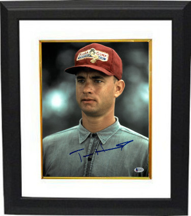 Tom Hanks signed Forrest Gump 11x14 Photo Custom Framed (Vertical Close Up w/ Bubba Gump Hat)- Beckett Holo #C88953
