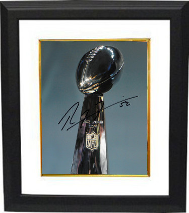 Ray Lewis signed Super Bowl Lombardi Trophy 8X10 Photo #52 Custom Framed (Baltimore Ravens)- PSA/JSA/BAS Guaranteed To Pass