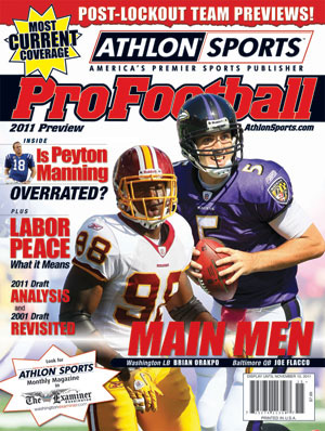 2011 Athlon Sports NFL Pro Football Magazine Preview- Baltimore Ravens/Washington Redskins Cover