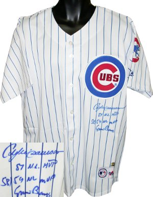 Andre Dawson signed Chicago Cubs White Majestic Jersey w/Banks- MVP inscriptions- MLB Hologram