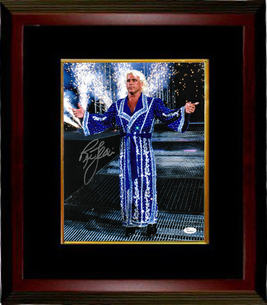 Ric Flair signed Wrestling 16X20 Photo Custom Framed- JSA Hologram (blue robe/WWF/WWE/WCW/NWA/TNA)