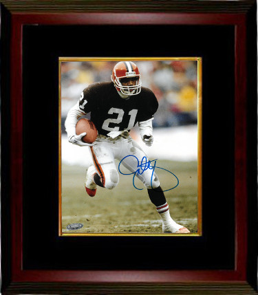 Eric Metcalf signed Cleveland Browns 8x10 Photo Custom Framed- Tri Star Hologram (brown jersey)