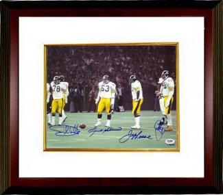 Ernie Holmes signed Pittsburgh Steelers 11x14 Photo Custom Framed 4 sig (deceased)- PSA Hologram