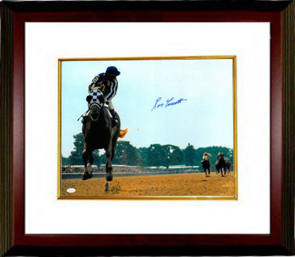 Ron Turcotte signed Secretariat 1973 Belmont Stakes Horse Racing Color 16X20 Photo Framed (Looking Back)- JSA Witnessed Hologram
