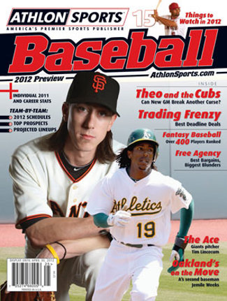 2012 Athlon Sports MLB Baseball Preview Magazine- San Francisco Giants/Oakland A's Cover