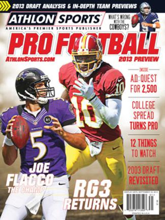 2013 Athlon Sports NFL Pro Football Magazine Preview- Baltimore Ravens/Washington Redskins Cover