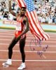 Carl Lewis signed Team USA 16x20 Flag Photo 9 X GM- Tri-Star Hologram