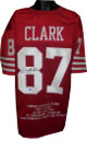 Dwight Clark signed San Francisco 49ers Red TB Pro style Jersey w/ Embroidered Stats pink stains