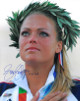 Jennie Finch signed Olympic Team USA 16x20 Photo w/ Crown 04 US Gold (2004 Olympic Ceremony)